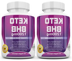2 X KETO BHB 1200mg PURE Ketone FAT BURNER Weight Loss Diet