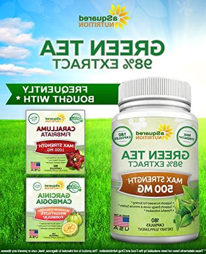 Green Tea Extract with EGCG Capsules - Max Potency Green 500 mg Pills Weight Loss, Boost & Antioxidant