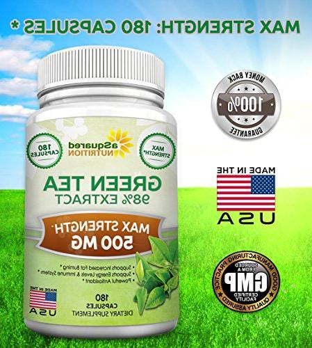 Green with - 180 Capsules Max Potency Green Tea 500 Weight Loss, Metabolism & All-Natural Low Caffeine Antioxidant